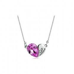 Collier coeur violet